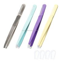 Slanted tip high quality Eyebrow tweezers Strong grip tweezers