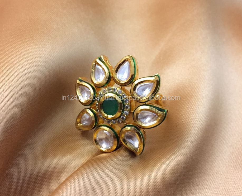 Traditional Indian Jaipur Style Flower Shaped Kundan Meena Ring With American Diamonds Red Green Onyx For Weddings Parties