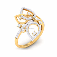 Floral yellow gold diamond ring