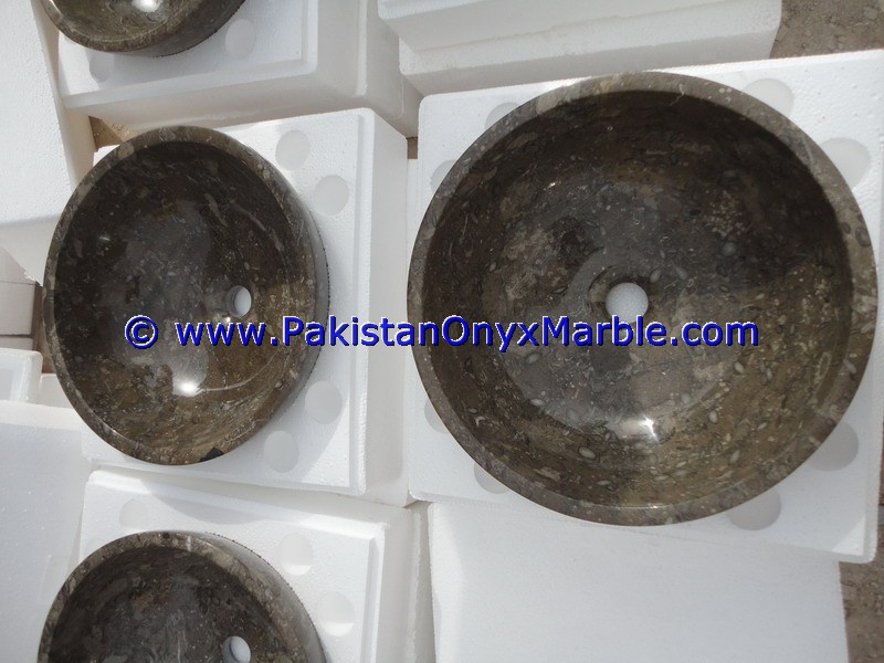 DECORATIVE MARBLE SINKS BASINS ROUND BOWL OCEANIC GEMSTONE