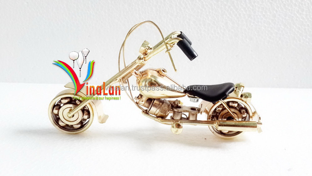 Handmade Yellow Metal Motorcycle model, Miniature model
