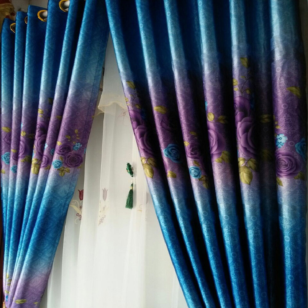 High Quality Black Out Rose Minimalist Curtain