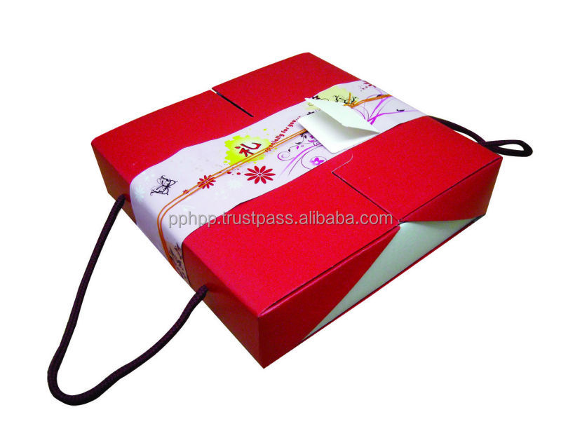 "MOON CAKE BOX GIFT SET SINGLE TRAY HANDLE BOX 8.5"" (RED & WHITE)"