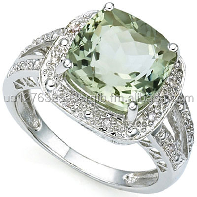 CLASSIC 3.62 CARAT GREEN AMETHYST & 12 PCS GENUINE DIAMOND 10K SOLID WHITE GOLD RING