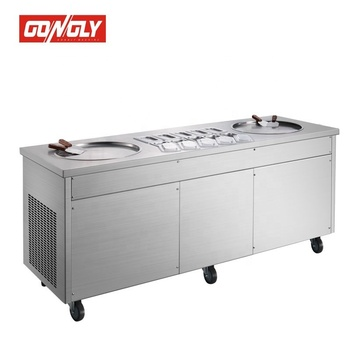 Golden Supplier Thailand style double pans roll fry ice cream machine with best price
