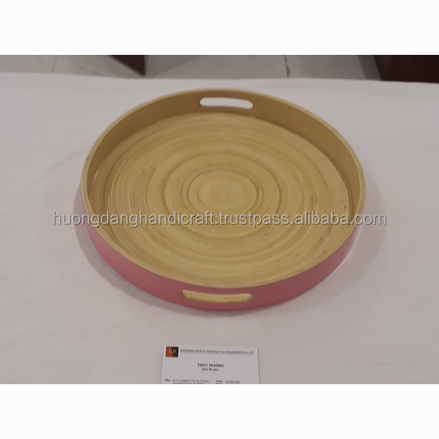 Eco Friendly new designs bamboo pink Tray from Viet Nam