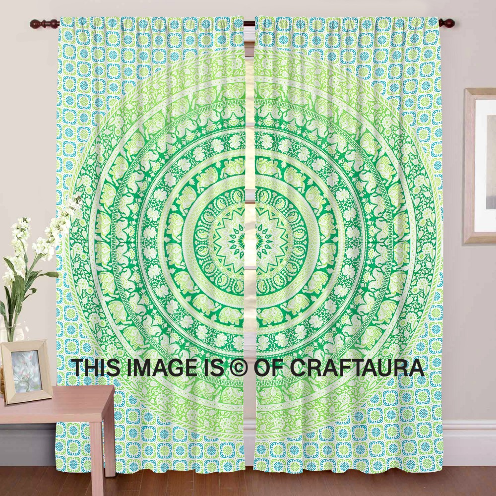 Indian Wholesaler Bird Print Valances Drapes Mandala Door Cover Hippie Wall Window Curtains