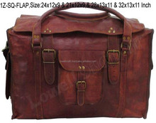 Indian Goat Leather Briefcase Duffel Travel Retro Vintage Bags
