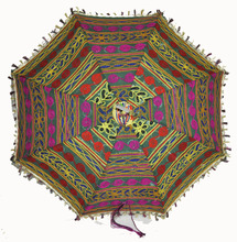 Traditional Embroidered Cotton Antique Work Colorful Umbrella Sunshade Parasol For Ladies & Girls