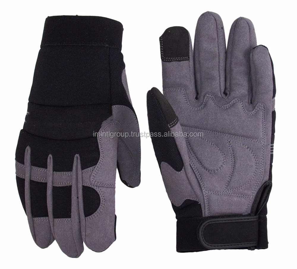 Synthetic Leather Work Gloves- Touch Screen Functional- Mechanic/Machine/Tactical/Utility - Tear Vibration Temperature Cut Re
