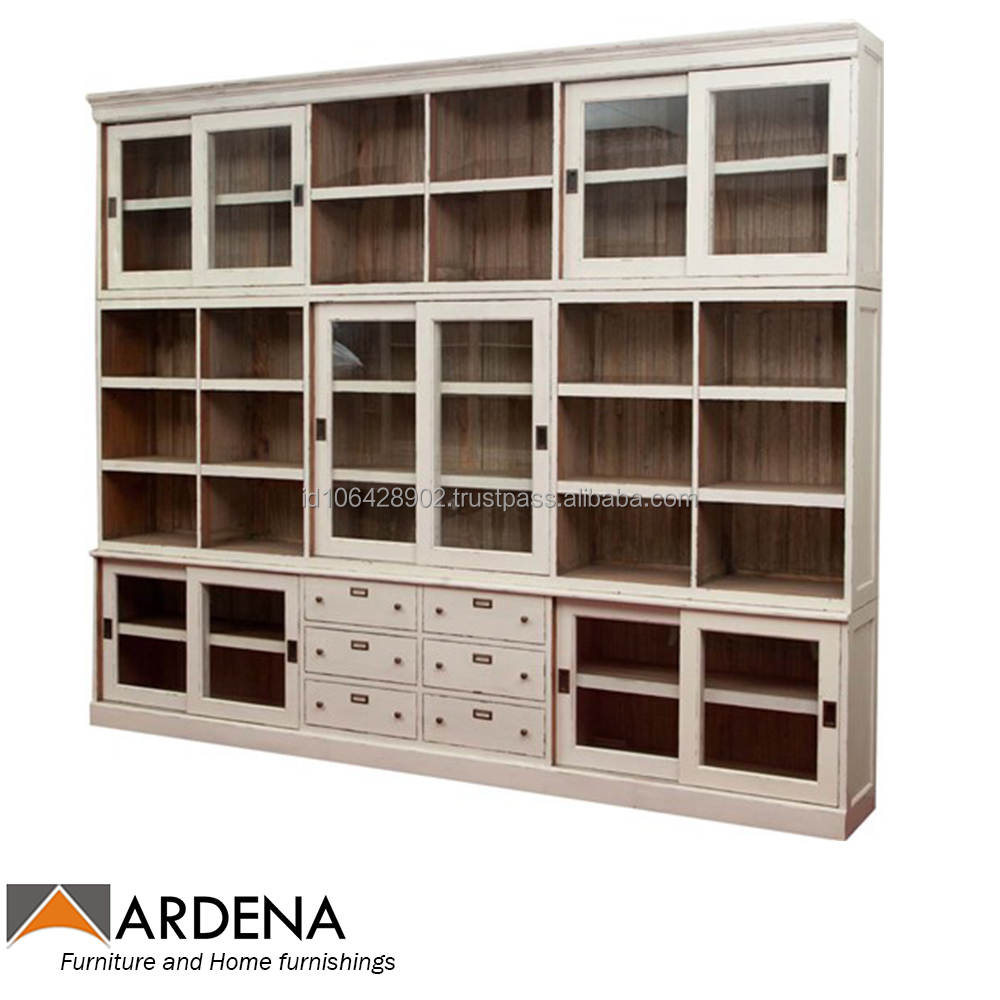 White Painted Glass Cupboard with Sliding Doors 6 drawers - indonesia furniture