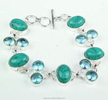 Unique 925 Sterling Silver Overlay Tibetan Turquoise Blue Topaz Handmade Fashion Bracelet Jewelry