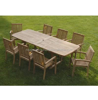 Rectangular Teak Dining Table and 8 Stacking Chairs Garden Outdoor Furniture Outdoor