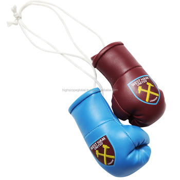 Promotional Mini Boxing Gloves for Car Hanging on Mirror Pu Rexine Leather Customized All countries Flags or any Logo printed