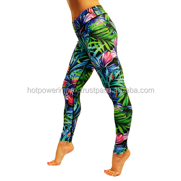 Tropical Flowers Leggings yoga & gym fitness legging for women