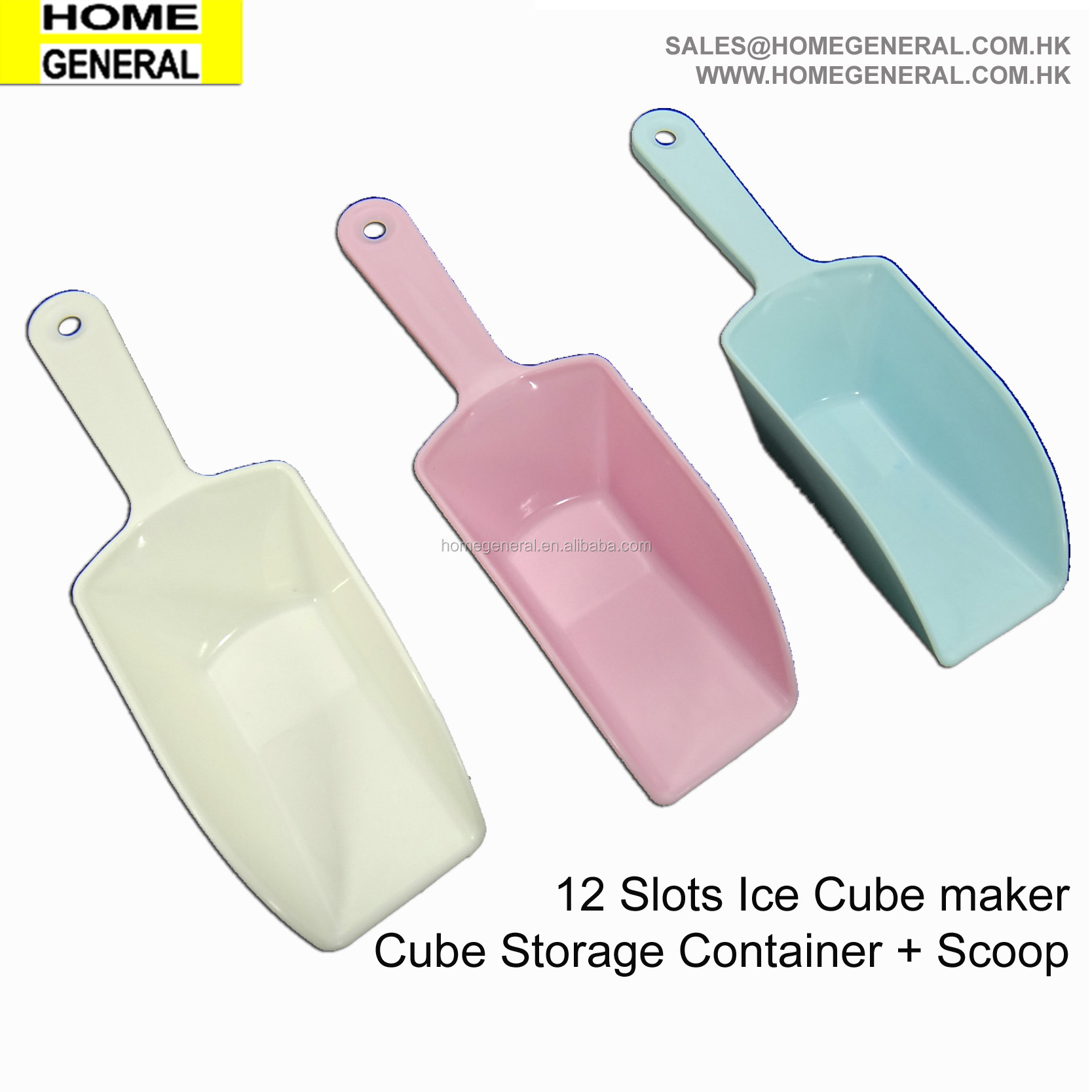 KITCHEN GENERAL ICE CUBE TRAY CONTAINER AND MOLD SET WITH SCOOP