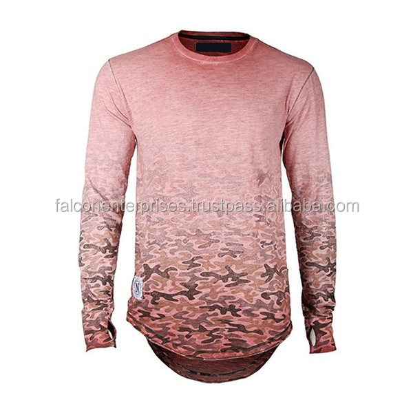 Full sleeves Custom sublimated High Quality Polyster Fabric O Neck Ty-shirt
