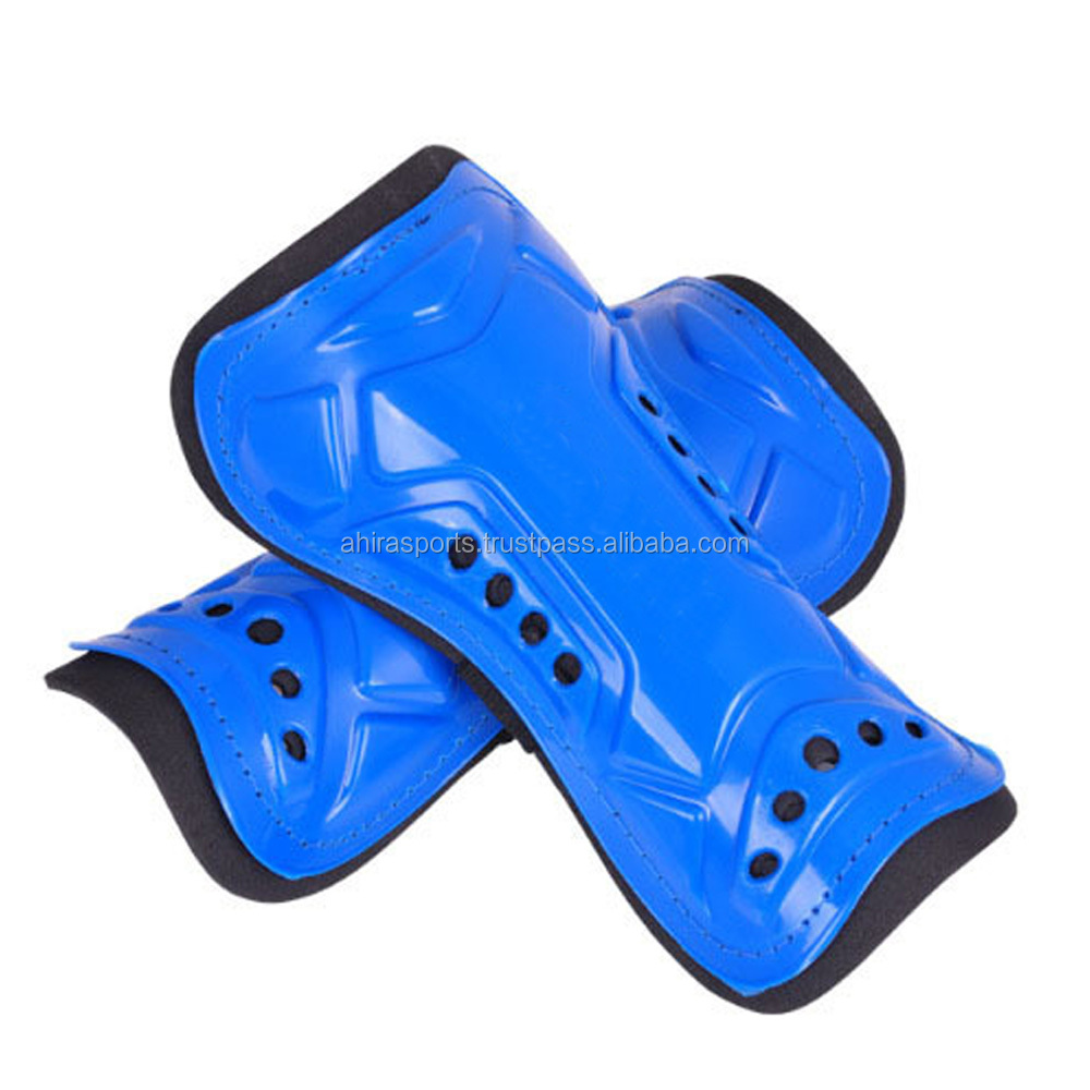 Ahira Sports Shin Guard/blue color/best price/plastic made/foam inside/wear with socks
