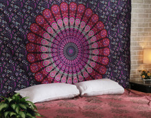 Indian Printed Mandala Beach Hippie Gypsy Bohemian Wall Decor Cotton Bedsheet Tapestry