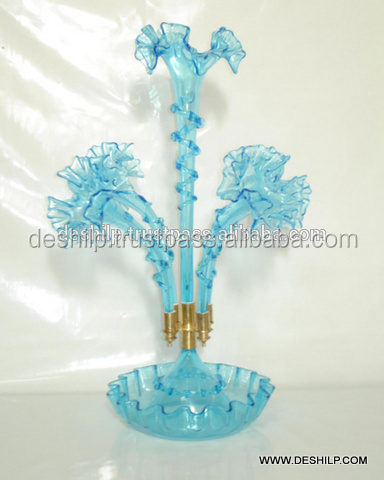 GLASS EPERGNE, DECORATIVE COLOR SKY BLUE EPERGNE, ANTIQUE EPERGNE