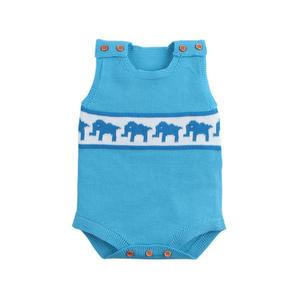 Baby Boy Cartoon Elephant Design Knitwear Onesies Infant Sleeveless Clothes Knitted Baby Boys' Rompers