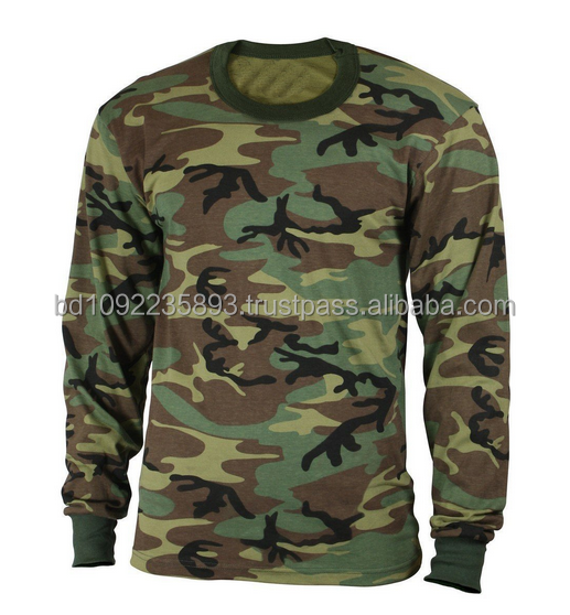 High quality Long sleeve camouflage army printed t shirt for Men's & Women OEM/ODM service from Bangladesh