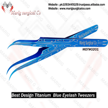 2018 New arrival Titanium Blue Eyelash Tweezers / Attractive Eyelash Tweezers MARIG