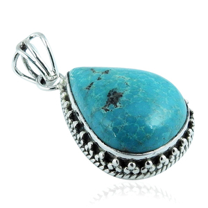 Amazing look turquoise gemstone drop shape pendant 925 sterling silver jewelry wholesale pendants supplier
