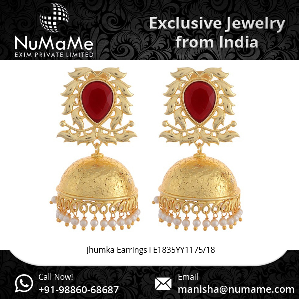 Indian Ethnic Bollywood Jewelry GoldTone Earrings Jhumka
