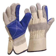 high quality reinforcement blue palm cow split leather working gloves