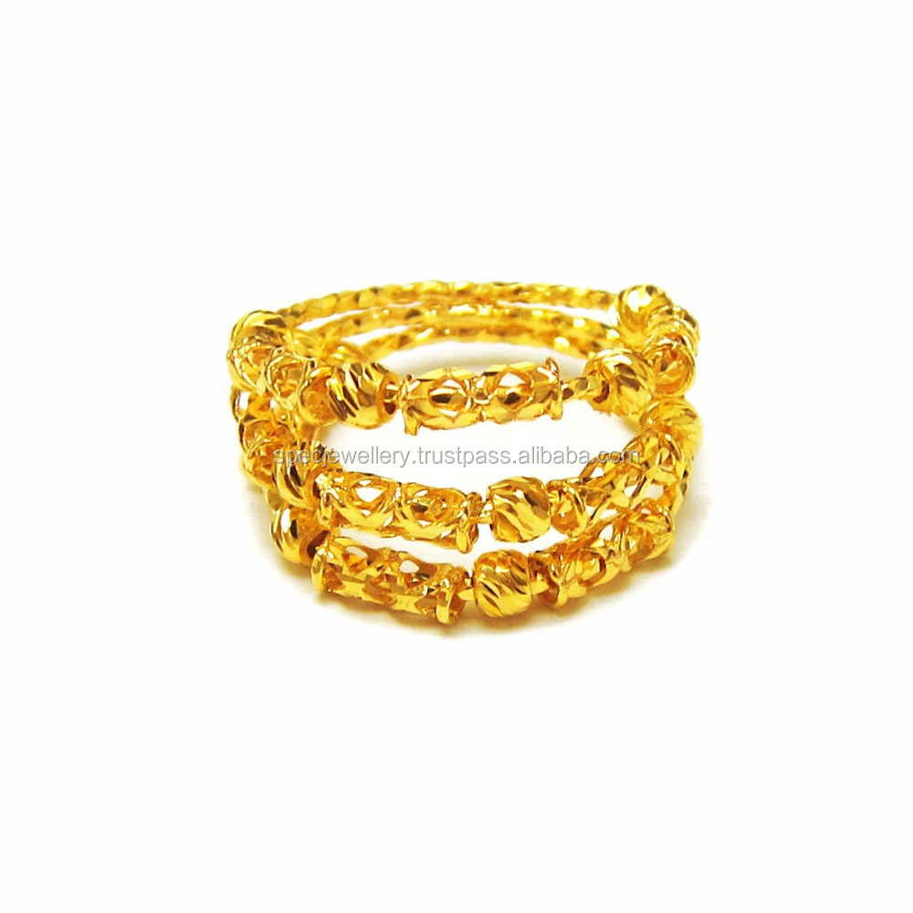 Dubai Middle East Arabic Jewelry Women Light Weight 18k 21k 22k Fine Yellow Gold Ring