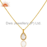 Crystal Quartz Gemstone Chain Pendant Yellow Gold Plated Sterling Silver Pendant Jewelry Wholesale