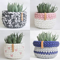 Colorful Crocheting And Knitting Planter Basket