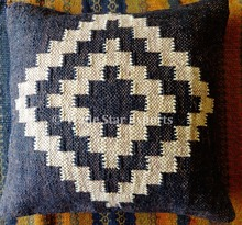Jute wool fabric decorative throw pillow case indian rugs hand woven kilim cushion cover