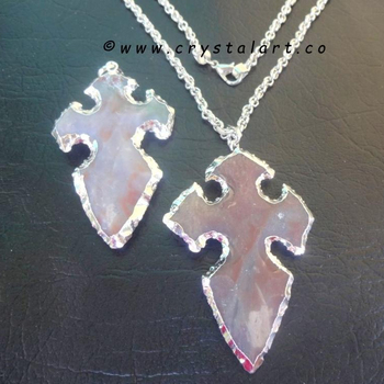Fangshui Cross Carving Silver plated Arrowhead Pendants with chain