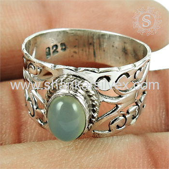 Latticed design chalcedony gemstone ring silver jewellery 925 sterling silver wholesale jewelry india
