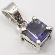 "925 Solid Silver High End IOLITE MODERNISTIC Pendant Lockets 0.6"" 1.4 Grams ONLINE BUY Best Sellers Gem Jewellers Import"