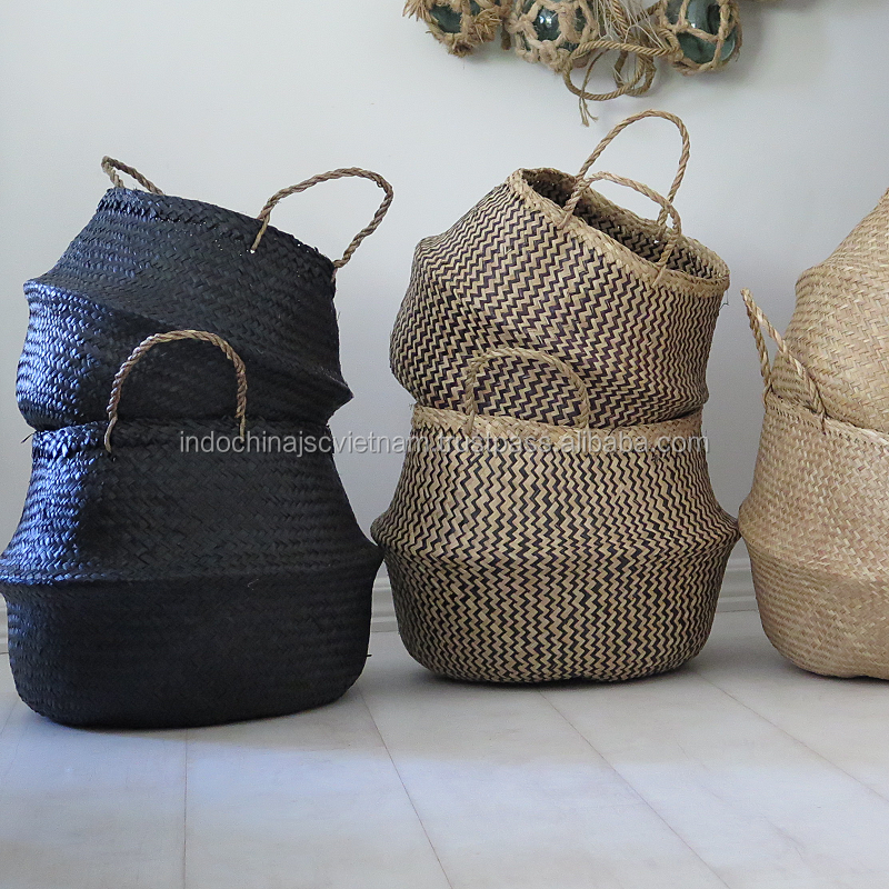 Natural folding storage basket wholesale made from 100% seagrass