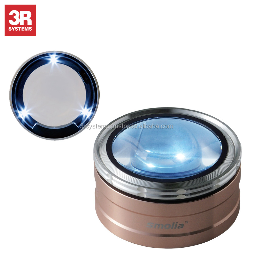 Dimmable LED lights and smart design zoom magnifying glass , use with wood photo frame , adjustable zoom function