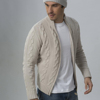 100% Cashmere Cable Knit Full Zip Men's Cardigan