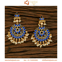 Fashion jewelry gold plated Dangler Stylish Earring 8726 Blue