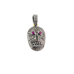 925 Sterling Silver Natural Pave Diamond Ruby Gemstone Fashion Skull Charm Pendant