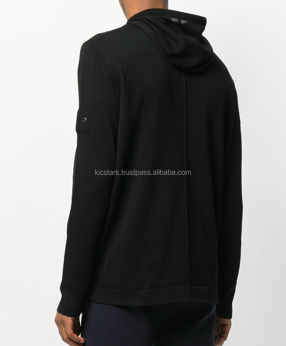 Best Export Black Pullover Fleece Drawstring Fashion Hoodie With Perforated Mesh for Men 2018