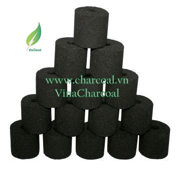 Coconut shell charcoal for BBQ in short pipe shape with white ash and great fire