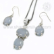 Rigorous look best choice chalcedony gemstone jewelry set 925 sterling silver handmade jewellery exporter