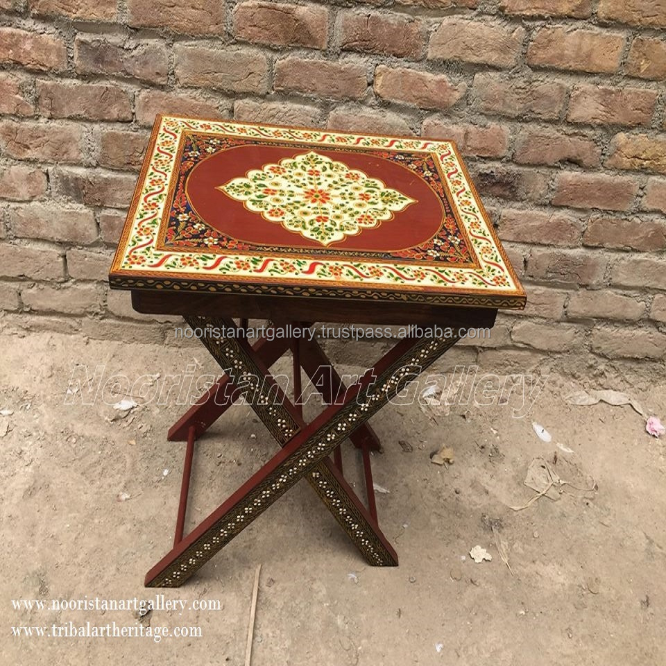 Afghan Antique Hand Painted Tea Tray Table (TA-001)