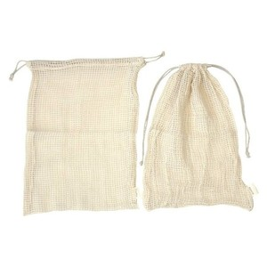 mesh produced reusable organic cotton drawstring bags