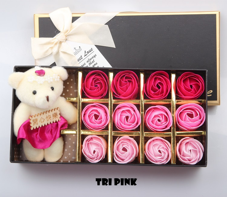 Rose Soap Flowers with Teddy Bear