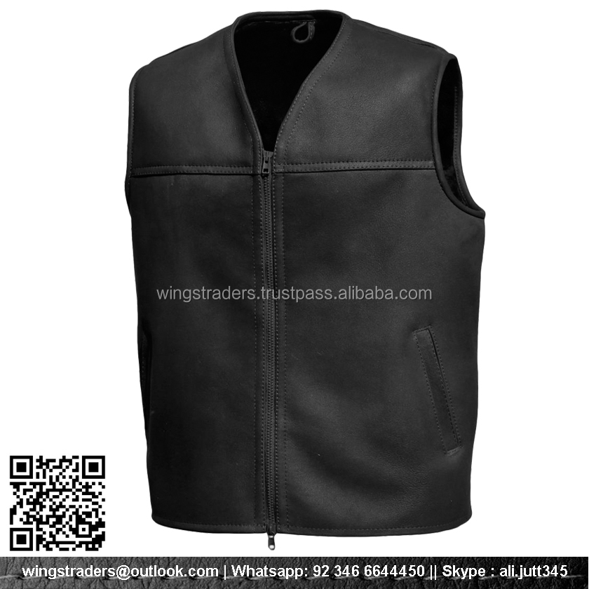 Gold Supplier Latest Design Men's Leather Waistcoat Vest Fur Vest , Hot Sale Leather Vest , High Quality Leather Vest