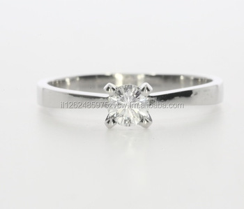 Diamond Ring In 14Kt White Gold Round Shape IGI 0.30ct